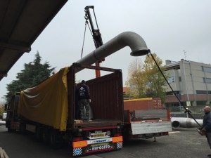 Piping - Storage of pipeline in an open top 40 feet container.
